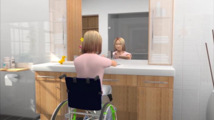 SpeediCath Compact in een rolstoel